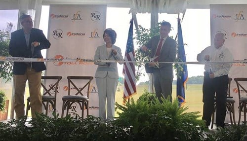 From left-to-right: Governor Eric Holcomb, U.S. DOT Secretary Elaine Chao, ITRCC CEO Nic Barr, Reith Riley Construction CEO Keith Rose