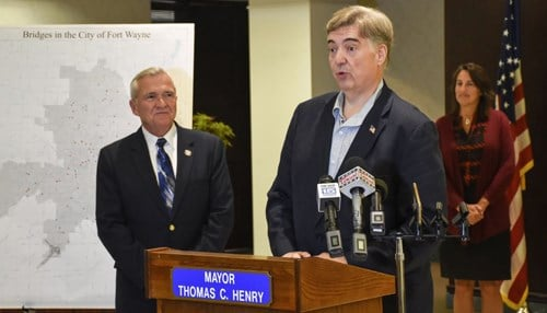 Mayors Tom Henry (left) and Terry McDonald (podium) announced the plan at a news conference Tuesday. (photo courtesy Tom Henry)