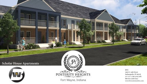 (Rendering of Posterity Heights' first pahse, the Scholar House, provided by BWI LLC.)