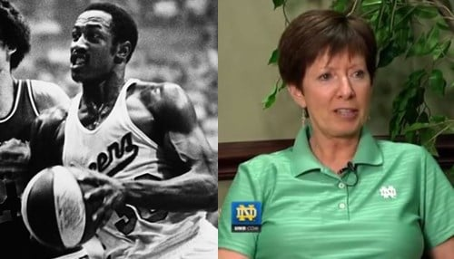 Image of George McGinnis (pictured left) courtesy of the NBA. Image of Muffet McGraw (pictured right) courtesy of UND.com.
