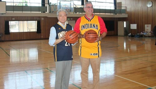 The meeting between Governors Holcomb and Fukuda also included a free throw contest.