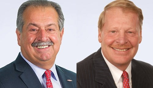 Pre-merger, DowDuPont Executive Chairman Andrew Liveris (pictured left) was the Dow Chemical Co. CEO. DowDuPont CEO Edward Breen was CEO of DuPont before what the companies tabbed a merger of equals.