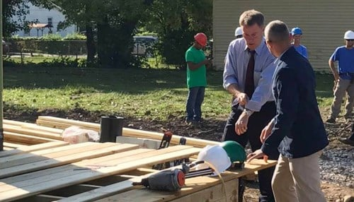 (Image of Mayor Joe Hogsett [pictured left of Re-Development Group CEO Josh Dubach] courtesy of Re-Development Group.)