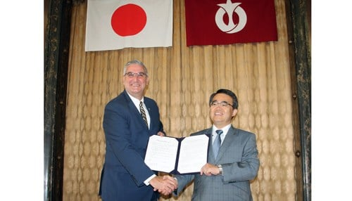 The trade mission included Governor Eric Holcomb and Aichi Prefecture Governor Hideaki Ohmura signing a Memorandum of Understanding. (Image courtesy of the Indiana Economic Development Corp.)