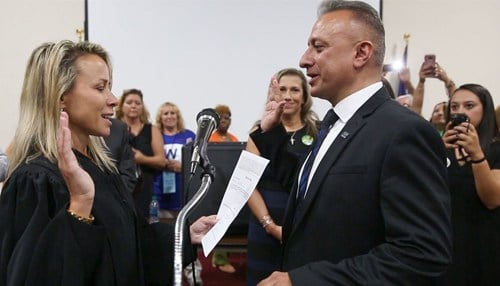 Oscar Martinez was sworn into his new position following the caucus vote. (photo courtesy of our partners at The Times of Northwest Indiana)