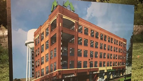 The bank's new headquarters building is currently under construction in Carmel. (photo courtesy Merchants Bancorp)