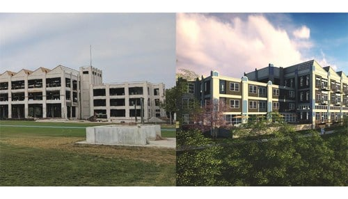 (Before-and-After rendering of the Riverfront Lofts Project provided by Riverscape.)