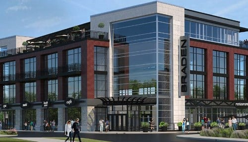 (Rendering of Braden Building in the Fishers Nickel Plate District courtesy of JLL.)