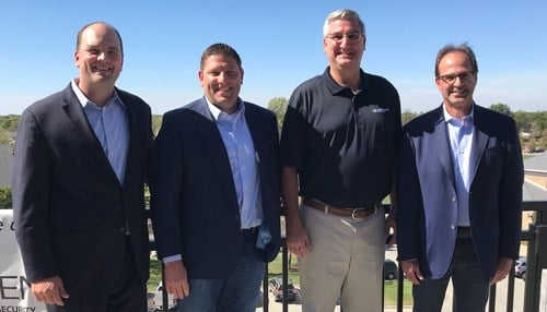 (L to R) Fishers Mayor Scott Fadness, Fuzic CEO Brent Oakley, Governor Eric Holcomb, Fuzic Executive Chairman Scott McCorkle