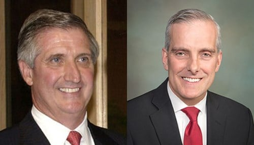 (L to R) Andrew Card and Denis McDonough (photos courtesy University of Notre Dame)