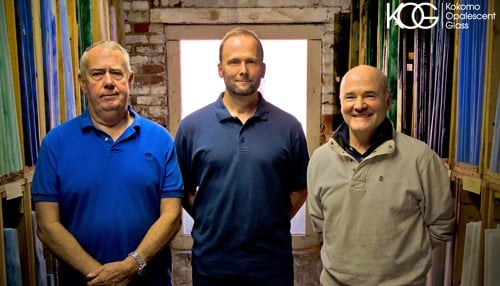 (Image provided by Kokomo Opalescent Glass) From left-to-right: Jim O'Donnell, Jeff Shaw, Dick Elliott.