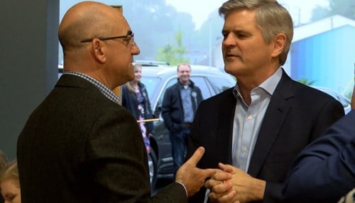 Indianapolis tech entrepreneur Scott Dorsey (pictured left) was among the competitors Thursday at Rise of The Rest, co-created by AOL co-founder Steve Case (pictured right).
