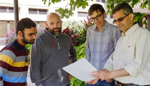 (From left) Researchers Saurabh Pandey, Jeremy Carter, George Mohler and Rajeev Raje (photo courtesy IU Communications)