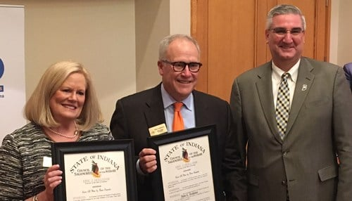 Holcomb honored the Lechleiters Wednesday evening at a special event at the Governor's Residence, hosted by United Way of Central Indiana.