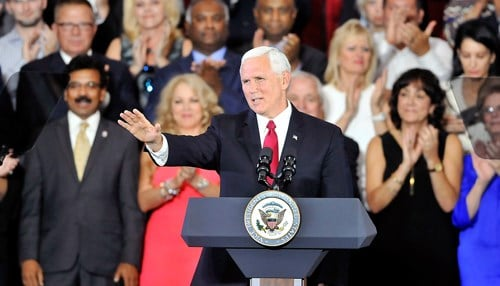 (Image of Vice President Mike Pence's September 2017 visit to Anderson courtesy of our partners at the Herald-Bulletin.