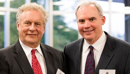Al Oak (left) with Doug McCoy, director of Center for Real Estate Studies. McCoy's position will be named after the Oaks. (photo courtesy Indiana University)