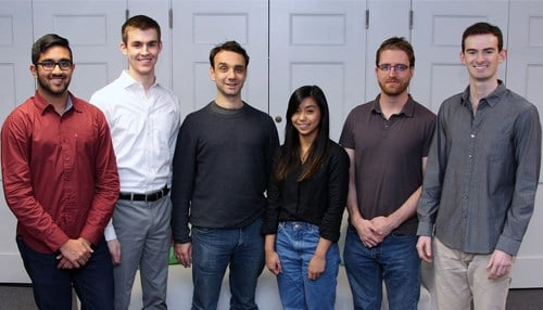 (L to R) The Perceive staff includes Anuraag Rajasekhar, Kyle McNulty, Aaron Michaux, Odilia Lirani, Matt Woenker, and Everett Berry. (photo courtesy Purdue University)