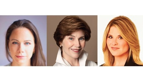 (L to R) Barbara Pierce Bush, Laura Bush, and Jenna Bush Hager