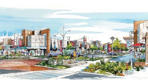 (Rendering of the Main Street view of The Yard provided by the city of Fishers.)