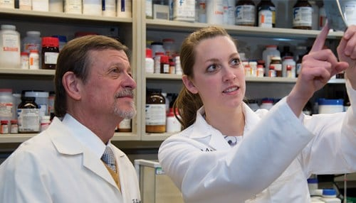 Timothy Ratliff (left), director of the Purdue Center for Cancer Research, will direct where the funds will go. (photo courtesy Purdue University)