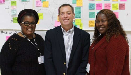 From left to right: East Chicago resident Tara Adams; IHCDA's Jacob Sipe; East Chicago Resident LaKeesha Daniels