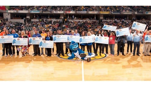 The 2017 champions of their respective tournaments were honored during an Indiana Pacers game at Bankers Life Fieldhouse in Indianapolis.