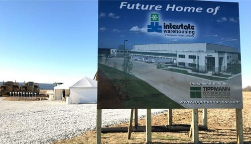 Construction began in November on the Interstate Warehousing facility in Anderson. (photo courtesy Tippmann Group)