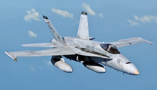 Raytheon's work includes repairs to radar systems for the F/A-18 aircraft.