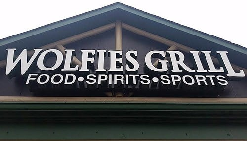 (Image of Carmel location sign courtesy of Wolfie's.)