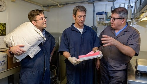 """""""(L to R) CorVus Biomedical co-founders James Byrd, Michael Sturek and Mouhamad Alloosh (photo courtesy Purdue University)"""""""