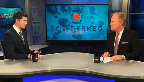 Powderkeg CEO Matt Hunckler (left) joined Gerry Dick on Inside INdiana Business Television.