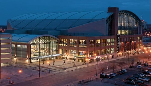 (Image of Bankers Life Fieldhouse courtesy of CNO Financial.)