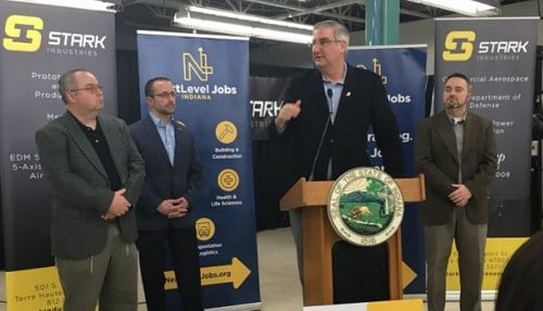 Holcomb made the announcement at Stark Industries in Terre Haute.