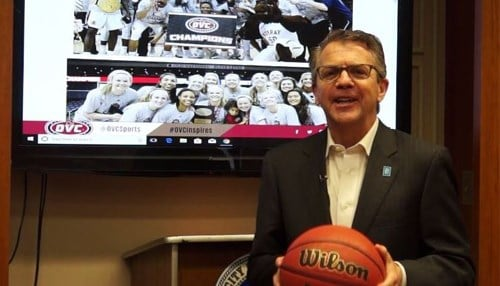Evansville Mayor Lloyd Winnecke reacts to Evansville being chosen to host 2019, 2020 OVC championships (photo courtesy of Lloyd Winnecke's office)