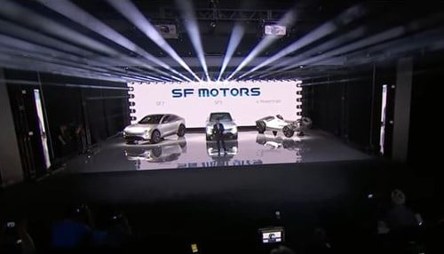 SF Motors unveiled concept vehicles in May during an event in California.