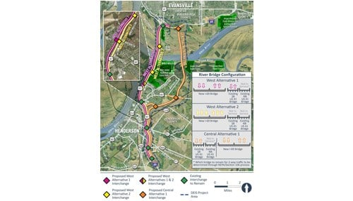 (Map courtesy of the Indiana Department of Transportation and the Kentucky Transportation Cabinet.)