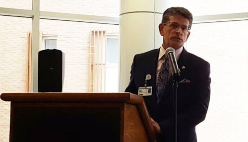 Franciscan Health Western Indiana CEO Terry Allison at this week's dedication ceremony. (photo courtesy Franciscan Health)