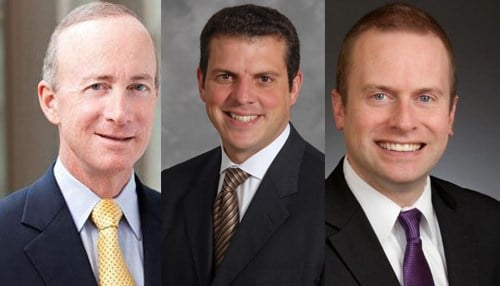 The featured speaker lineup includes (from left-to-right): Mitch Daniels, Bill Oesterle, Michael Huber.