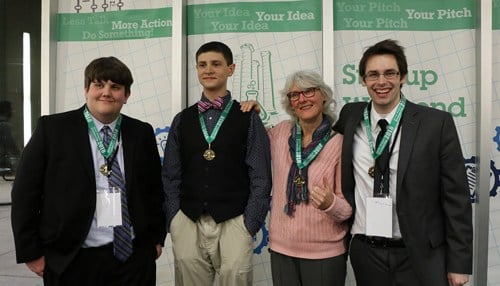 The Carrier Pigeon team won Startup Weekend Evansville 7.0. (Image courtesy of University of Southern Indiana.)
