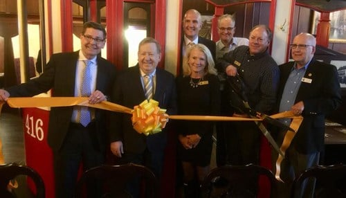 Carmel Mayor Jim Brainard (second from left) was among the officials who cut the ribbon Monday. (photo courtesy city of Carmel)
