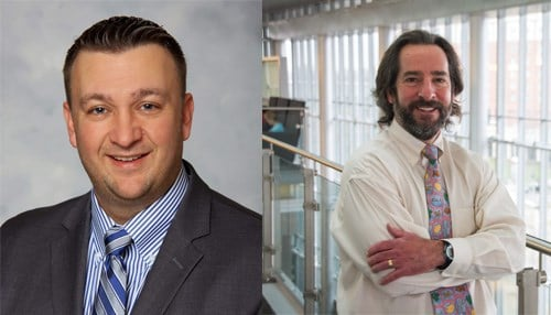 Dr. Paul Szotek (left), a hernia surgeon and chief executive officer of the Indiana Hernia Center, and Dr. Todd Saxton, IU Kelley School of Business associate professor of strategy and entrepreneurship, are the co-founders of SoPE Indiana.