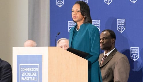 The Commission on College Basketball was chaired by Condoleezza Rice. (Image provided by the NCAA)