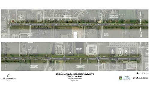 Rendering of Emerson Avenue Project in Greenwood (rendering courtesy of City of Greenwood)