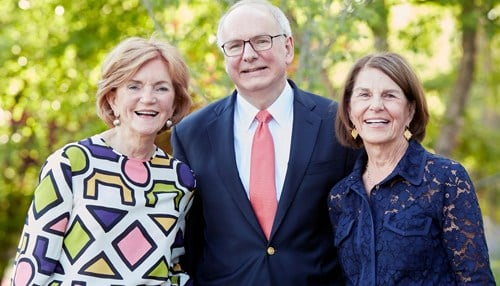 From left-to-right: Vera Bradley co-founder Barbara Bradley Baekgaard, IU School of Medicine Dean Jay Hess and Vera Bradley co-founder Patricia Miller.