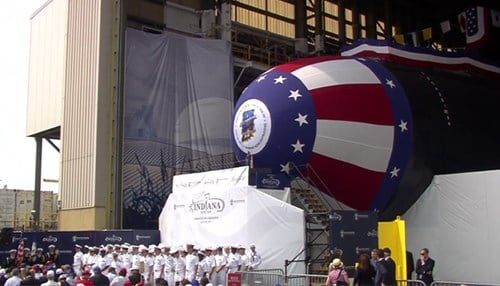 The christening of the USS Indiana last year