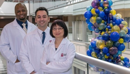 The IU team of researchers includes: Lester Smith, PhD; Burcin Ekser, MD, PhD; and Ping Li, PhD (left to right).
