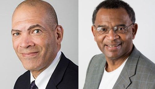 Avis Stewart (right) will succeed Alan Price (left) as Earlham College president on an interim basis.