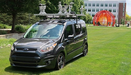 The LiDAR (Light Detection and Ranging) mobile sensing platform on top of this vehicle is one of the projects to be researched through the new Innovation Hub. (photo courtesy Purdue University)