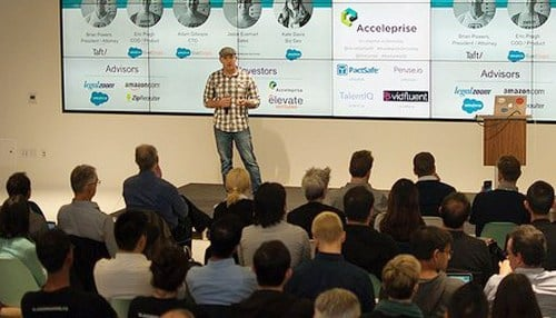 (Image courtesy of PactSafe) Brian Powers (pictured on the stage) founded PactSafe in 2015.