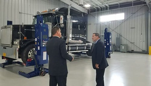 Sen. Joe Donnelly (right) toured the new facility Tuesday.